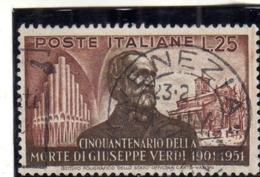 ITALIA REPUBBLICA ITALY REPUBLIC 1951 CINQUANTENARIO MORTE GIUSEPPE VERDI 50TH DEATH ANNIVERSARY LIRE 25  USATO USED - 6. 1946-.. República