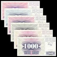 BOSNIA HERZEGOVINA - 10+25+50+100+500+1.000 Dinara 01.07.1992 UNC P.10+11+12+13+14+15 - Bosnia And Herzegovina