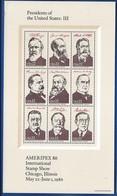 Bloc 9 Timbres  Présidents Of The Untes States: III    Ameripex 1986 - Blocks & Sheetlets
