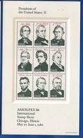 Bloc 9 Timbres  Présidents Of The Untes States: II   Ameripex 1986 - Blocks & Sheetlets