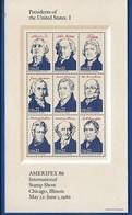 Bloc 9 Timbres  Présidents Of The Untes States: I   Ameripex 1986 - Blocks & Sheetlets