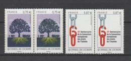 FRANCE / 2010 / Y&T SERVICE N° 146/147 ** : CONSEIL (Construction Eur & Droits De L'Homme) X 2 - Gomme D'origine Intacte - Neufs