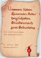52735867 - Geburtstagsglueckwunsch Frankreich 1945 Handgemalt - Guerre 1939-45