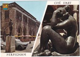 Perpignan : CITROËN 2CV, PEUGEOT 204 - Patio De La Mairie Et 'Venus', Sculpture De Maillol - PKW