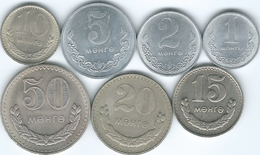 Mongolia - 1 (1980); 2 (1981) 5 (1980) 10 (1981) 15 (1981) 20 (1981) & 50 Möngö (KMs 27-32) - Mongolia