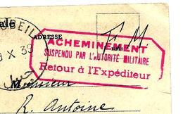 Carte 9/10/1939 CACHET Rouge ACHEMINEMENT SUSPENDU (provenant De BYBLOS - LIBAN) Pour LEMÉ Aisne - Début Guerre 39/40 - Marcophilie (Lettres)