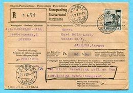 Einzugsauftrag Luzern 1957 - Absender: J.L. Wangeler-Hill - Suisse