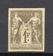 - FRANCE Variété N° 82b - 1 F. Vert Bronze Type Sage II - GRANET, NON DENTELÉ - - 1876-1898 Sage (Type II)