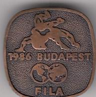Pin Badge World Wrestling Championship Budapest Hungary 1986 86 FILA - Wrestling
