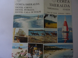 """Pieghevole  Illustrato """"COSTA SMERALDA HOTEL CERVO - HOTEL PITRIZZA - HOTEL CALA VOLPE"""" 1969 - Dépliants Turistici"""