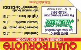 SCHEDA TELEFONICA  EDIZIONI DOMUS QUATTRORUOTE  SCADENZA 31/12/1995 USATA - Italy