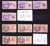 TIMBRE FRANCE FISCAL FISCAUX VIANDES VIANDES N° 159.160.161.162 Et 1.2.3.4.5. - Fiscaux