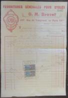 France - Paire De Timbres De Quittances 25c Sur Facture Des Fournitures Générales Pour Cycles G.M. Brevet (GMB) - 1923 - Fiscaux
