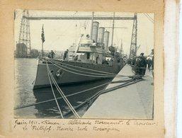 """1018. SEINE-MARITIME 76 ROUEN PHOTO SUR CARTON FORT MILLENAIRE NORMAND JUIN 1911. NAVIRE ECOLE NORVEGIEN """"LE FRITHJOF"""" - Lugares"""