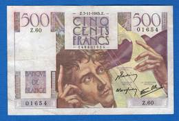 500  Fr  Du  7/11/1945  Z 60 - 1871-1952 Antichi Franchi Circolanti Nel XX Secolo