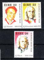 Irlanda - 1985. Anno Della Musica. Haendel, Scarlatti, Bach. Year Of Music. Complete MNH Series - Musica