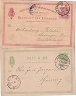 DANEMARK     ENTIER POSTAL/GANZSACHE/POSTAL STATIONERY LOT DE 2 CARTES - Postal Stationery