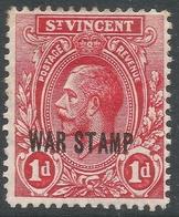 St Vincent. 1916 War Tax. 1d MH. SG 126 - St.Vincent (...-1979)