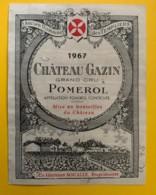 10233 - Château Gazin 1967  Pomerol - Bordeaux