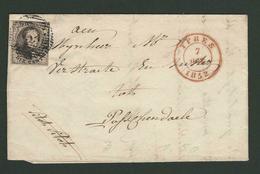 B/TB Lettre De Ypres Du 7 Dec 1852 à Passendaele Avec Nr 6 -- Cachet Arrivée Roulers - 1851-1857 Medallones (6/8)
