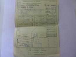 """Biglietto """"Ag. Viaggi WAGON LITS COOK DA VENEZIA S. LUCIA A NAPOLI"""" 1984 - Spoorwegen"""