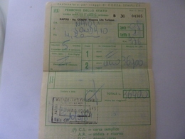 """Biglietto """"Ag. Viaggi GEMINI  WAGON LITS TURISMO DA NAPOLI A SONDRIO"""" 1984 - Spoorwegen"""