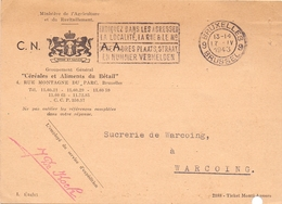 Briefkaart Carte Postale - Céréales & Aliments Du Bétail Bruxelles  - à Warcoing - 1943 - Entiers Postaux