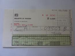 """Biglietto """"FS  Stazione Di Emissione BOLOGNA  - DA BOLOGNA A VENEZIA S.L. """" 1984 - Treni"""