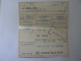"""Biglietto """"FERROVIE DELLO STATO -  DA FAENZA A BOLOGNA """" 1984 - Treni"""