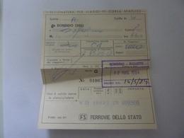"""Biglietto """"FERROVIE DELLO STATO -  SONDRIO  A BOLOGNA """" 1984 - Railway"""