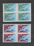 """FRANCE / 1991 / Y&T SERVICE N° 106/107 ** : CONSEIL De L'EUROPE (""""Carte"""" 2F50 & 3F40) X 4 Paires En Blocs - Neufs"""