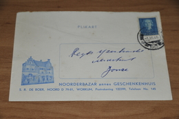 53-     BEDRIJFSKAART, NOORDERBAZAR Annex GESCHENKENHUIS S.R. DE BOER - WORKUM - 1952 - Kaarten