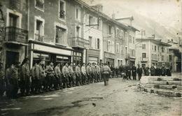 Carte Photo Modane Grande Rue Groupe Militaires Chasseurs Alpins (section D'éclaireurs Skieurs) - Modane