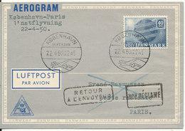 Denmark Aerogramme First SAS Night Flight Copenhagen -Paris 22-4-1950 - Danemark