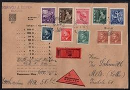 BOHEME ET MORAVIE - KLADNO - III REICH / 1944 LETTRE EN VALEUR DECLAREE - C. REMBT POUR METZ - MOSELLE (ref 7825) - Bohême & Moravie