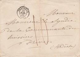 Lettre LSC GRENOBLE Isère 30/7/1850 Taxe Manuscrite Pour Privas Ardèche - Postmark Collection (Covers)