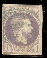Edifil 158 (º)  1 Real Violeta  Carlos VII  1874  Matasellos Lastaola  NL912 - 1873-74 Regencia