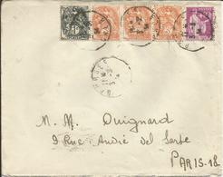 1932-33 - Type PAIX - N° 281 + Complémént Oblitérés (o) Sur Lettre - France