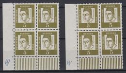 Bund 347y 4er Block Eckrand Links Unten Typ I+II Bedeutende Deutsche 5 Pf ** /2 - BRD
