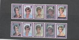 2 Bandes De 5 TP**  DIANA Princess Of WALES Avec Carton Triptyque - Familles Royales