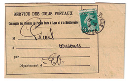 1919 - SERVICE DES COLIS POSTAUX GARE De CARPENTRAS (VAUCLUSE) AFFRANCHISSEMENT SEMEUSE 5c VERT PLM - Postmark Collection (Covers)