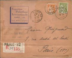 1937 - Type PAIX - N° 284A Et 286 Obl.sur Lettre RECOMMANDEE EXPO PHILAT. PARIS - VIGNETTE AU VERSO - France