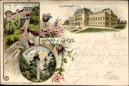 Lithographie Graz Steiermark, Hilmwarte, Kk Universität, Schlossbergbahn, Standseilbahn - Austria