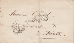 Lettre LSC VERDUN Sur Meuse 5/1/1855 Taxe Double Trait 30 Pour Metz Moselle - 1849-1876: Période Classique