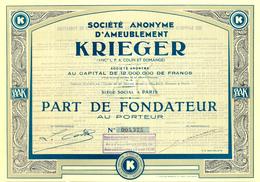 S. A. D'Ameublement Krieger – ART-DÉCO - Actions & Titres