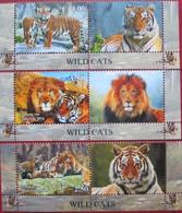 Tajikistan  2016  Fauna  Wild  Cats   3 V. + Labels  MNH - Tajikistan