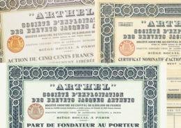 """3 X """"ARTHEL"""" – PDF, Certificat & Action - Actions & Titres"""