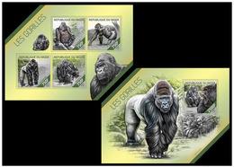 Niger 2014 Fauna Monkeys Gorillas Klb+s/s MNH - Gorilles