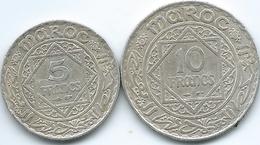 Morocco - Mohammed V - AH1352 (1934) - 5 Francs (KMY37) & AH1347 (1929) - 10 Francs (KMY38) - Maroc