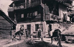 Val D'hérens, La Sage Scène De Rue, Transport à Dos De Mulets (13600) - VS Valais